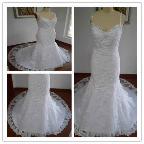 Made In China Real Picture Spaghetti Straps Lace Chapel Train Sleeveless Beading Charming Wedding Dress LW4