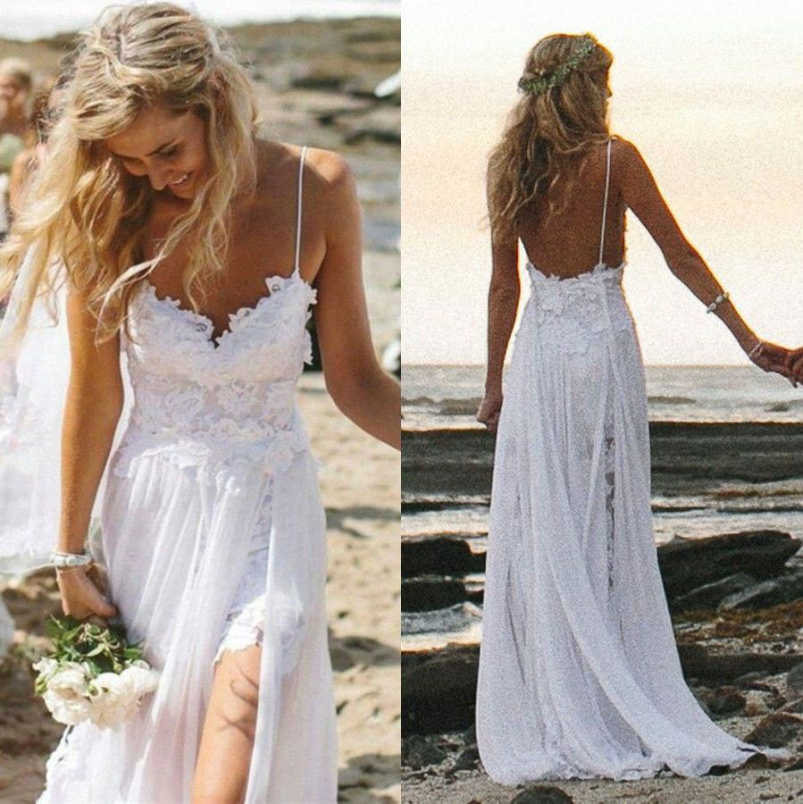 New Arrival A-line Spaghetti Strap White Lace and Chiffon Beach ...