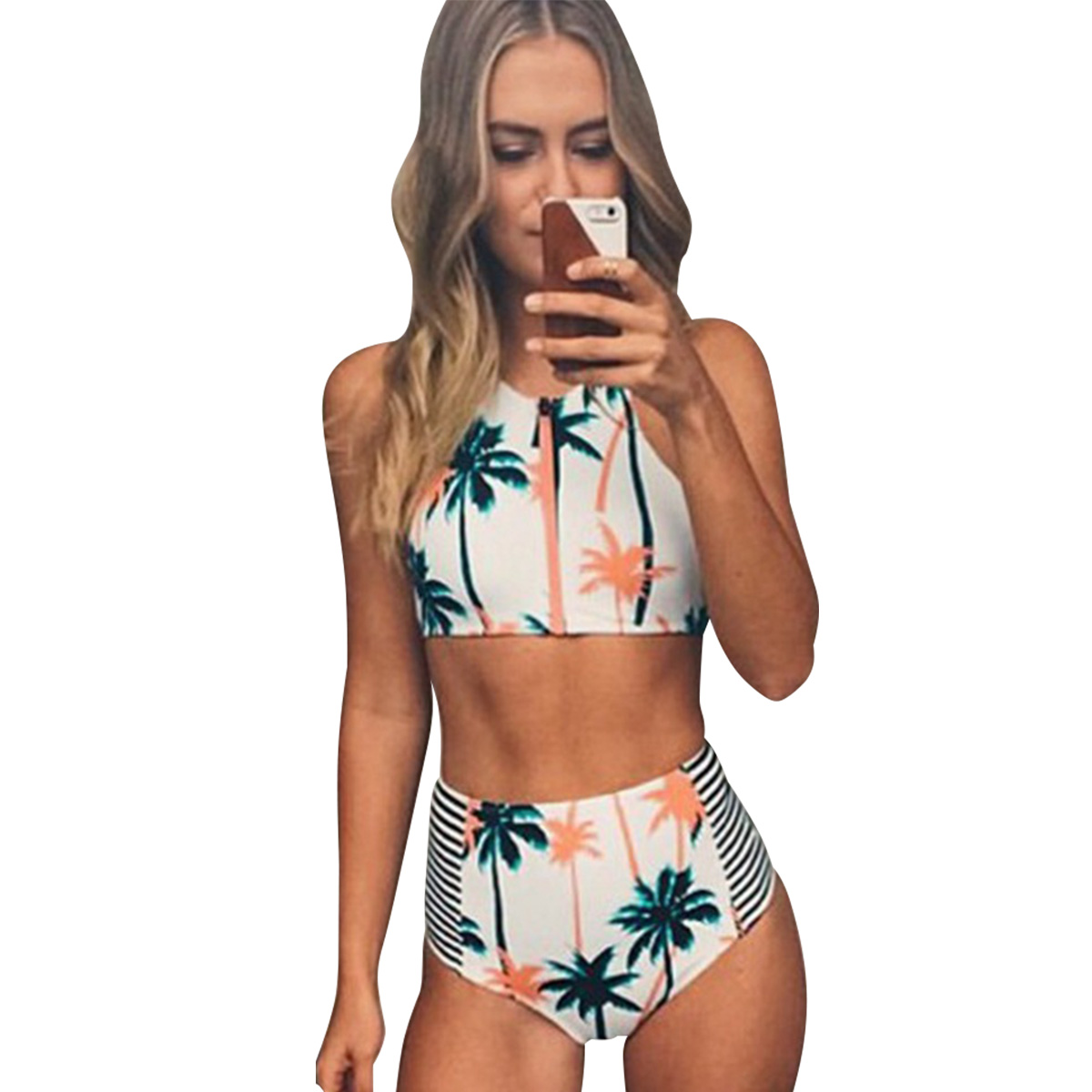 Women Cute Padded High Neck Coconut Tree Print Bikini Sets Cute Bathing Suit e0e426bdd