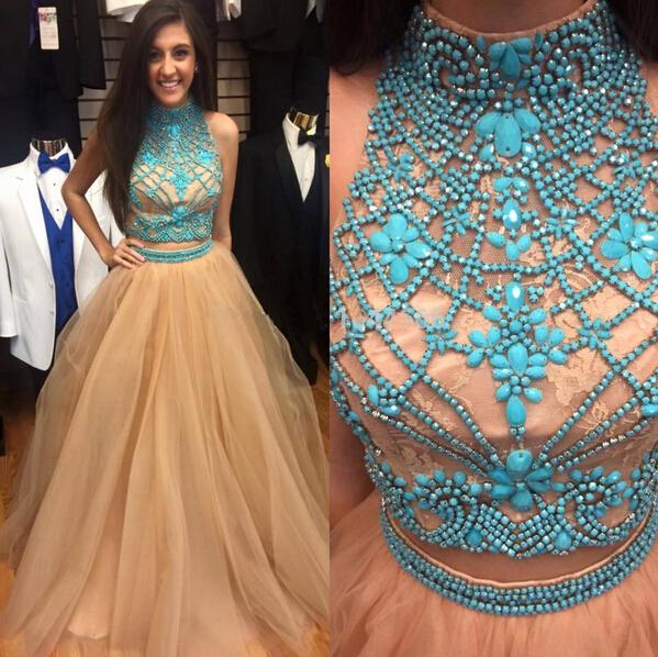 Champagne Blue Prom Dresses