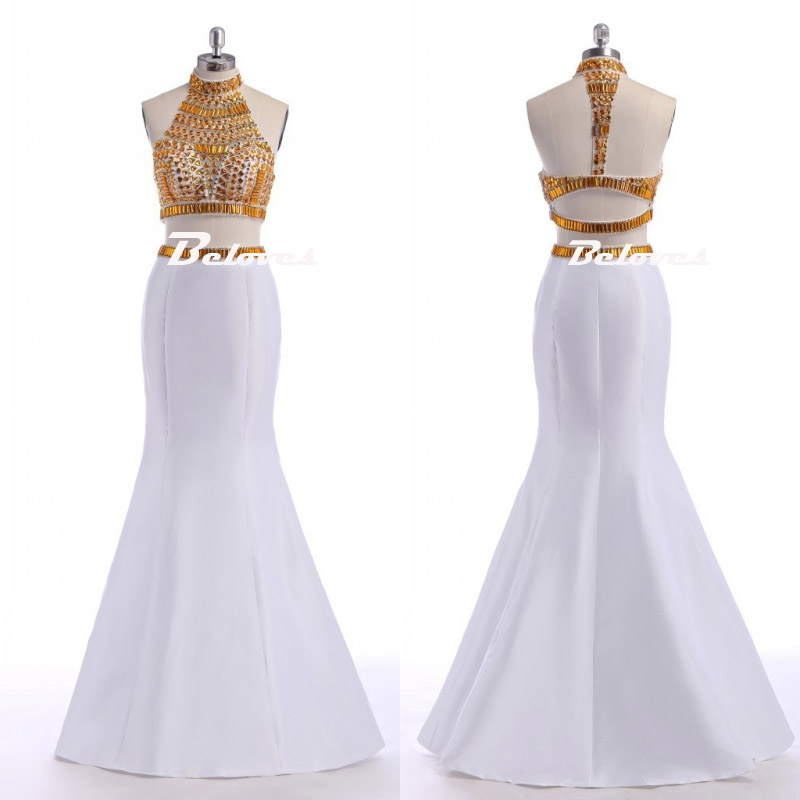 516f93976ce Gorgeous White High Neck Two Piece Mermaid Prom Gown With Gold Crystals