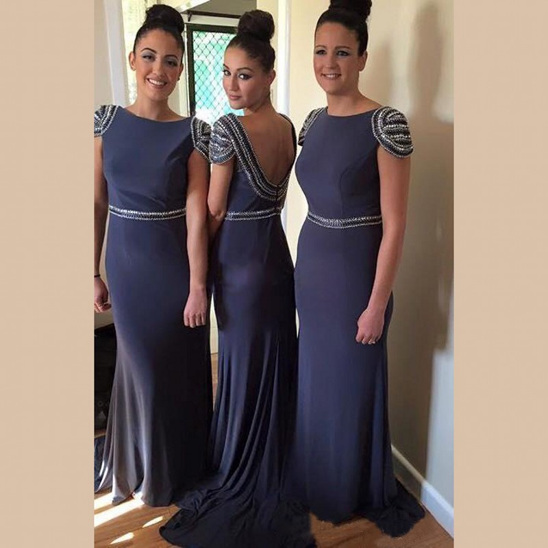 Dark Blue Bridesmaid Dress With Cap Sleeves, Beaded Bateau Bridesmaid  Dresses With Low Back,