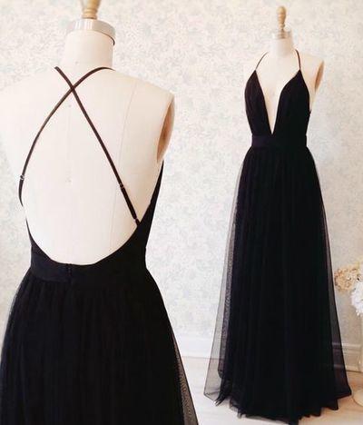 black tulle prom dresses