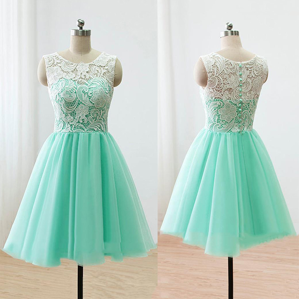 Sleeveless Green Prom Dress, Illusion Lace Prom Dresses with Buttons ...