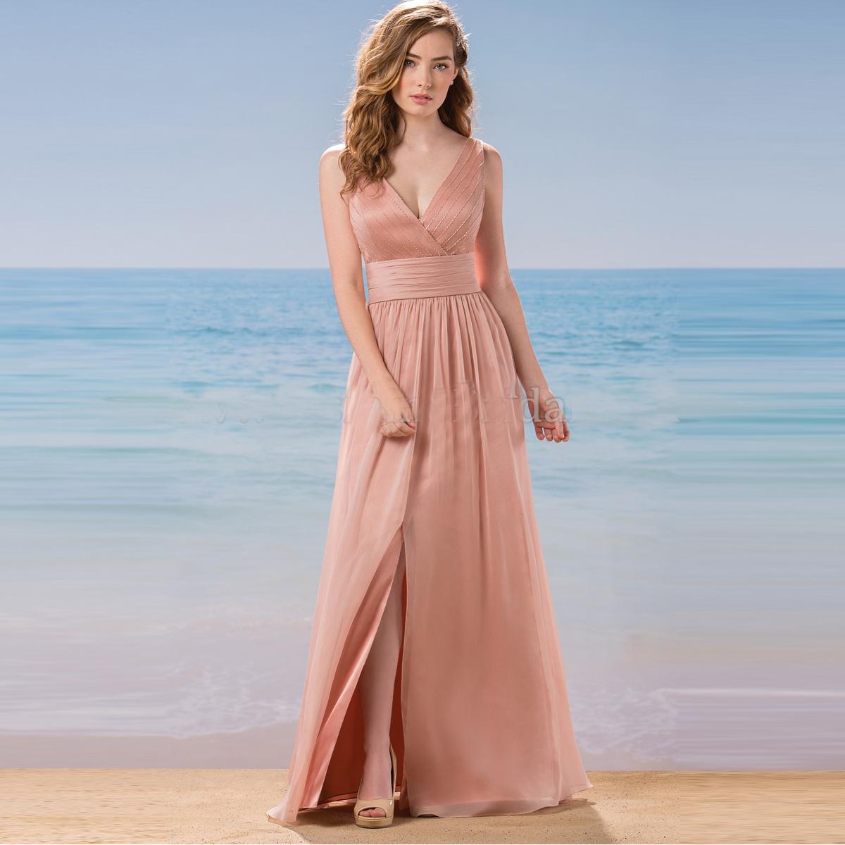 V-neck Long Chiffon Prom dress beaded Evening Gowns women Dress 2016 ...