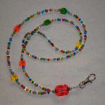 Beaded lanyard multicolor/silver/red