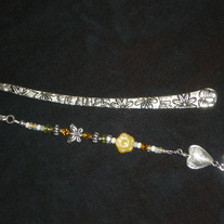 Beaded Bookmark Yellow/White/Floral/Joy
