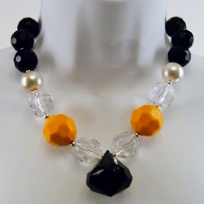 Black, yellow, and clear chunky necklace