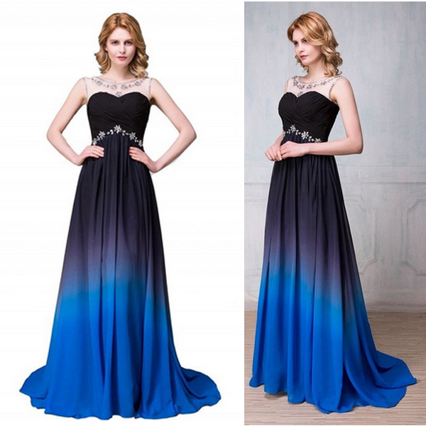 Charming Gradient Chiffon Prom Dresses,Navy Blue And Royal Blue Prom ...