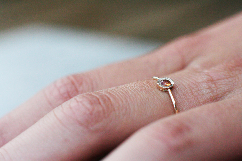 Orange sapphire ring in 14k gold, September birthstone, tiny gold ...