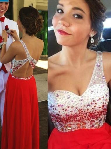 New Elegant One Shoulder Backless Chiffon Long Red Prom prom dress ...