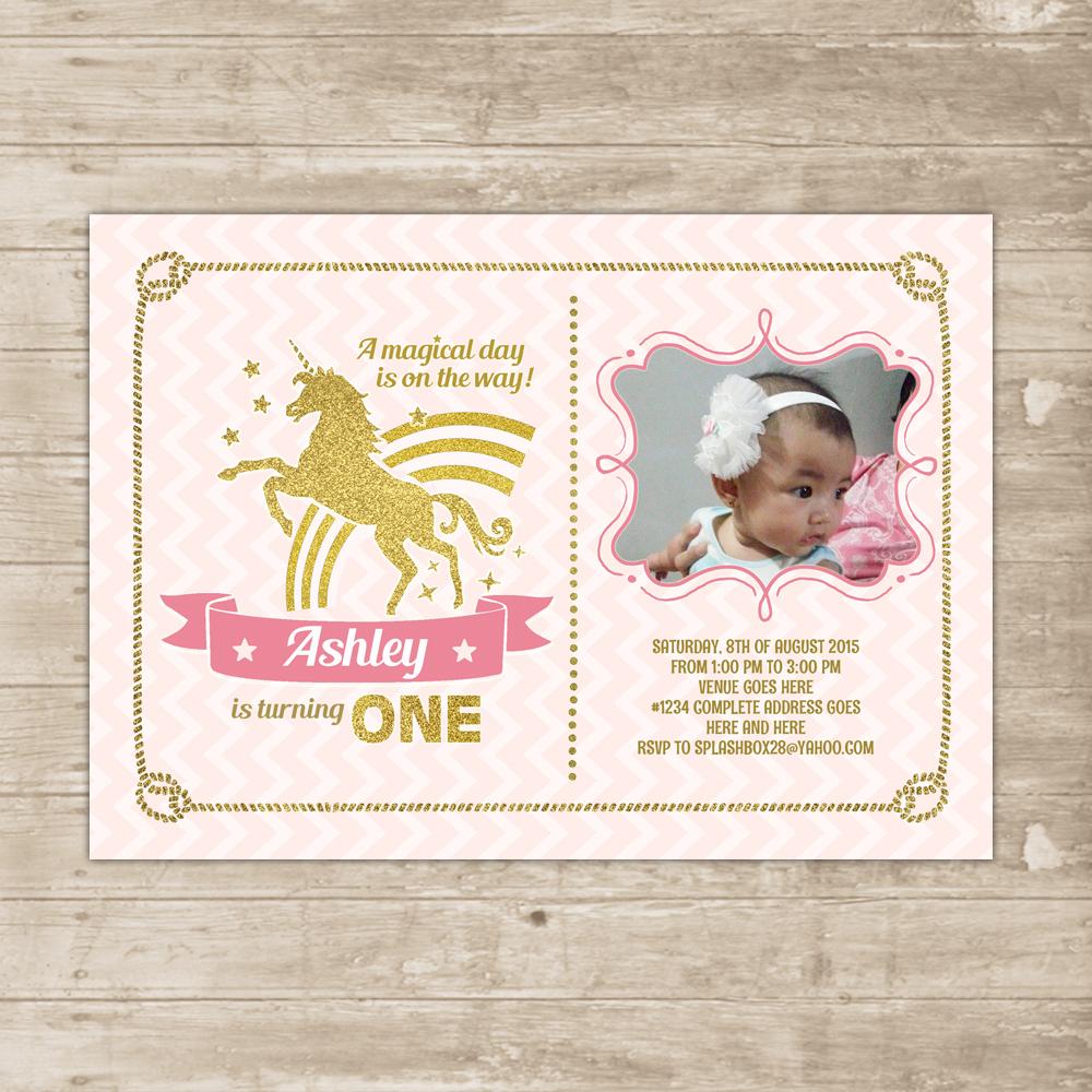 Unicorn Pink Gold Invitation Rainbow Invite Glitter magical flying ...
