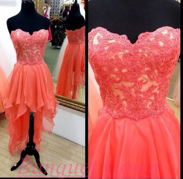 High Low Lace Homecoming Dresses,Cute Prom Gown,Lovely Homecoming ...