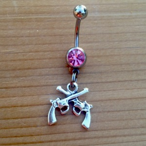 Crossed Pistol Belly Ring