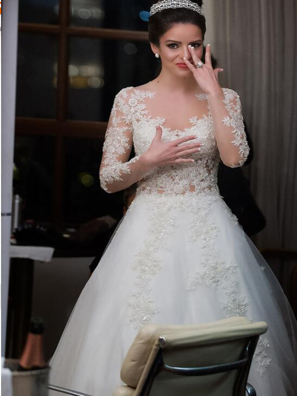 A-Line wedding dress,Elegant wedding dress, Long Sleeve bridal ...