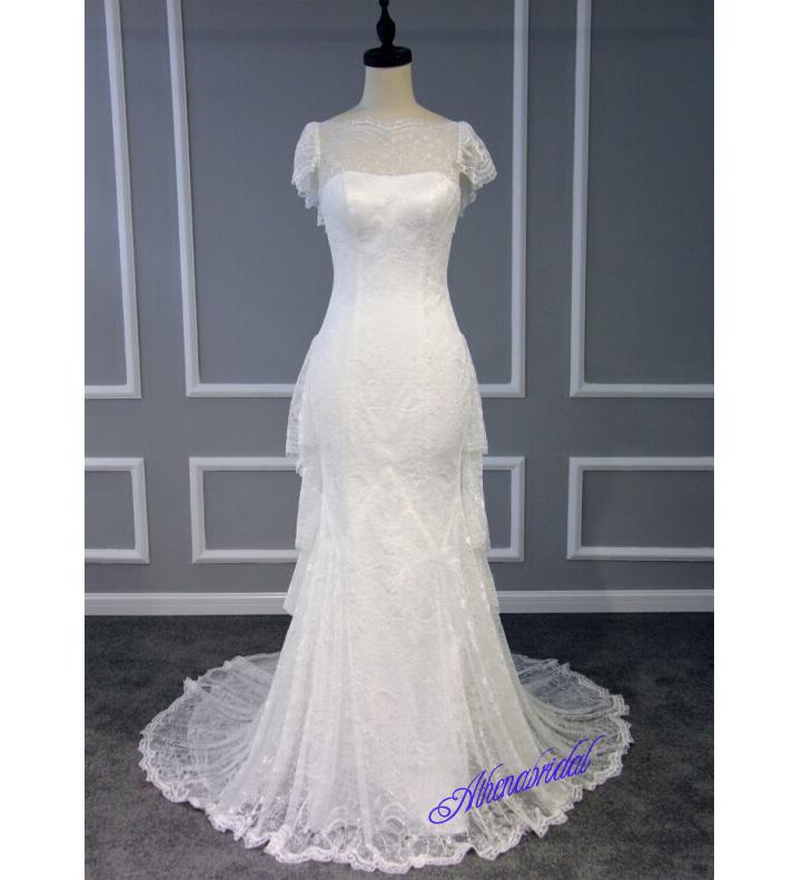 Straight neckline wedding dresses, lace wedding dresses, charming ...