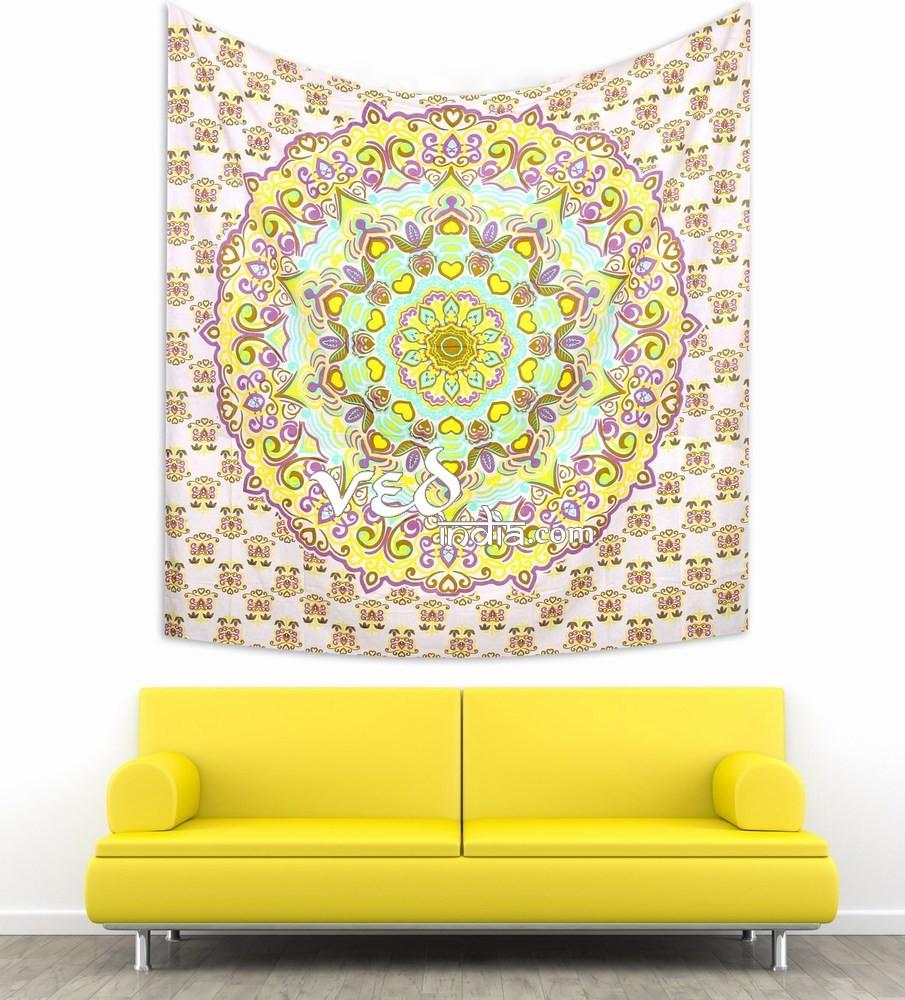 Bohemian Bedding Yellow Purple Mandala Throw Tapestry · Ved India ...