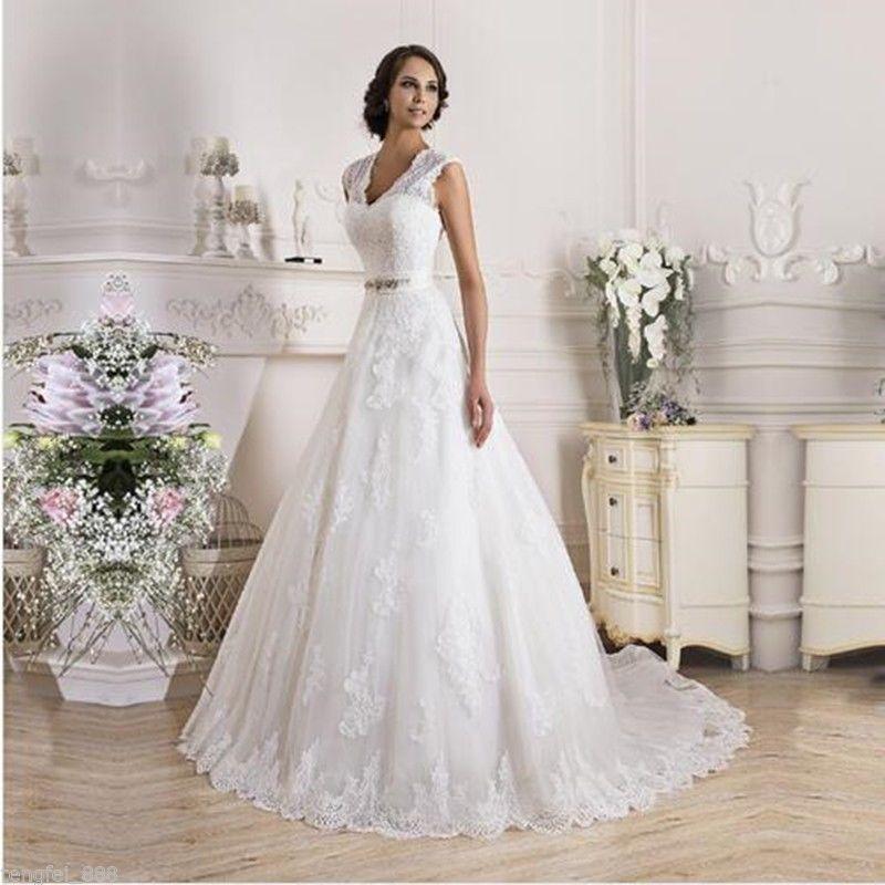 2016 White Ivory Long Sleeve Mermaid Lace Wedding Bridal Dress Size ...