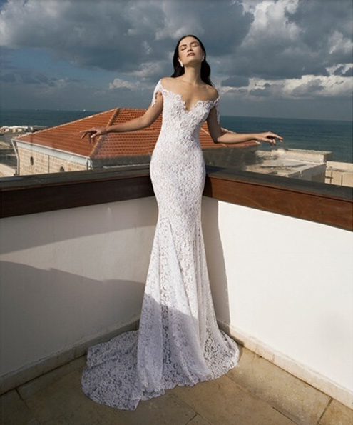 Romantic lace off the shoulder wedding dress, Homecoming open back ...