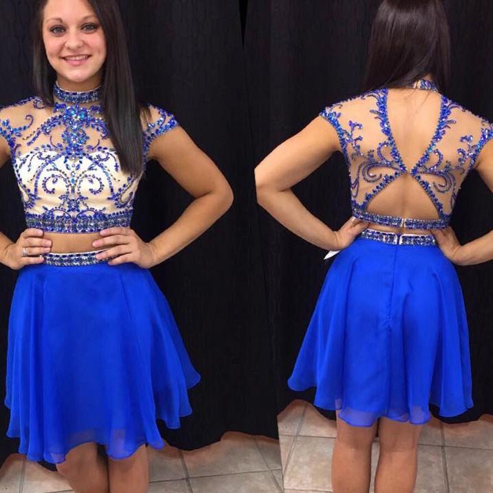 Solo Dress Royal Blue Homecoming Dress,Short Prom Dresses,Chiffon ...