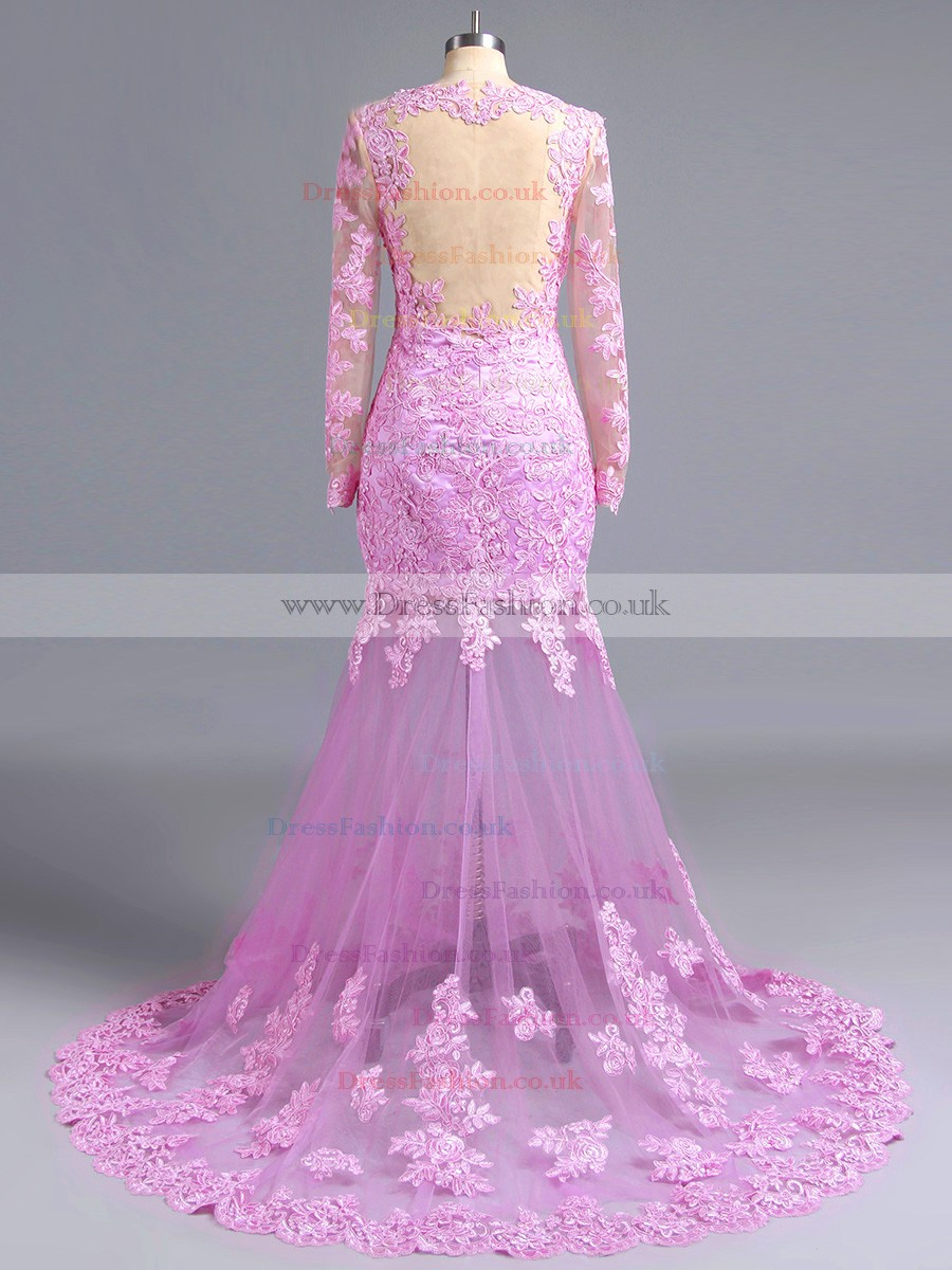 Mermaid V-neck Lilac Tulle Appliques Lace Long Sleeve Prom ...
