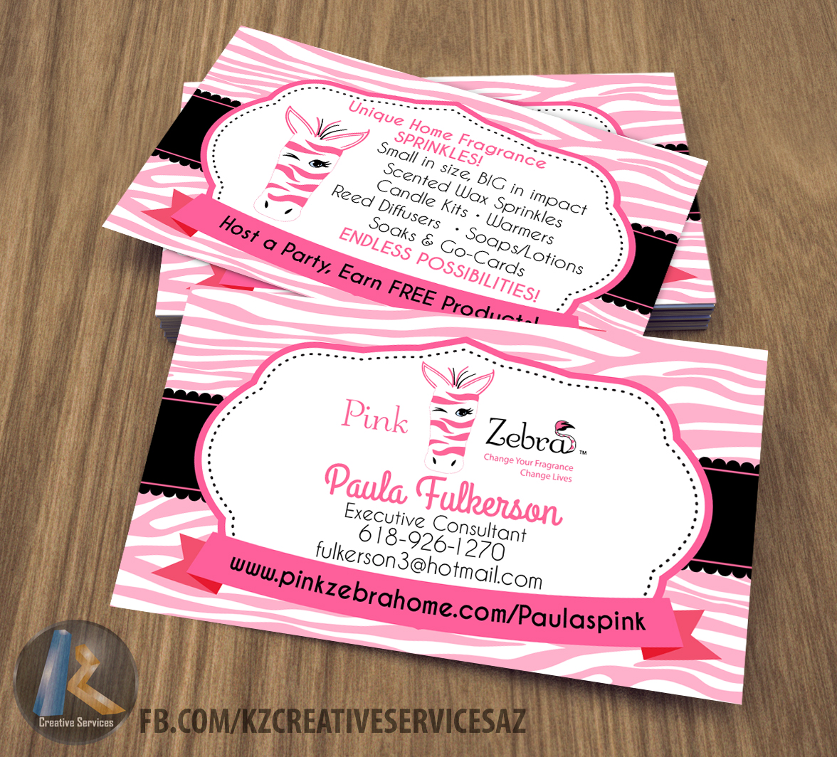 PINK ZEBRA business Cards style 4 from KZ Creative Services