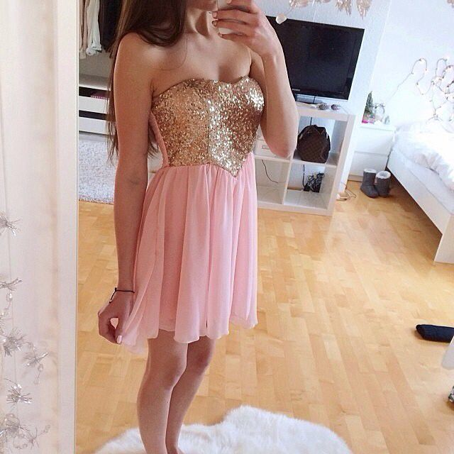 short prom dress,sequin chiffon prom dress,pink homecoming dress ...