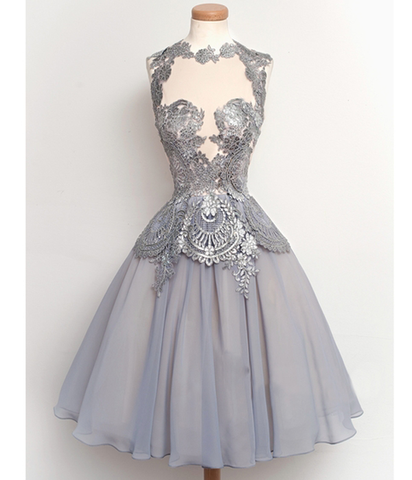 Short Elegant A-line Homecoming Dress, Pretty Lace Homecoming ...