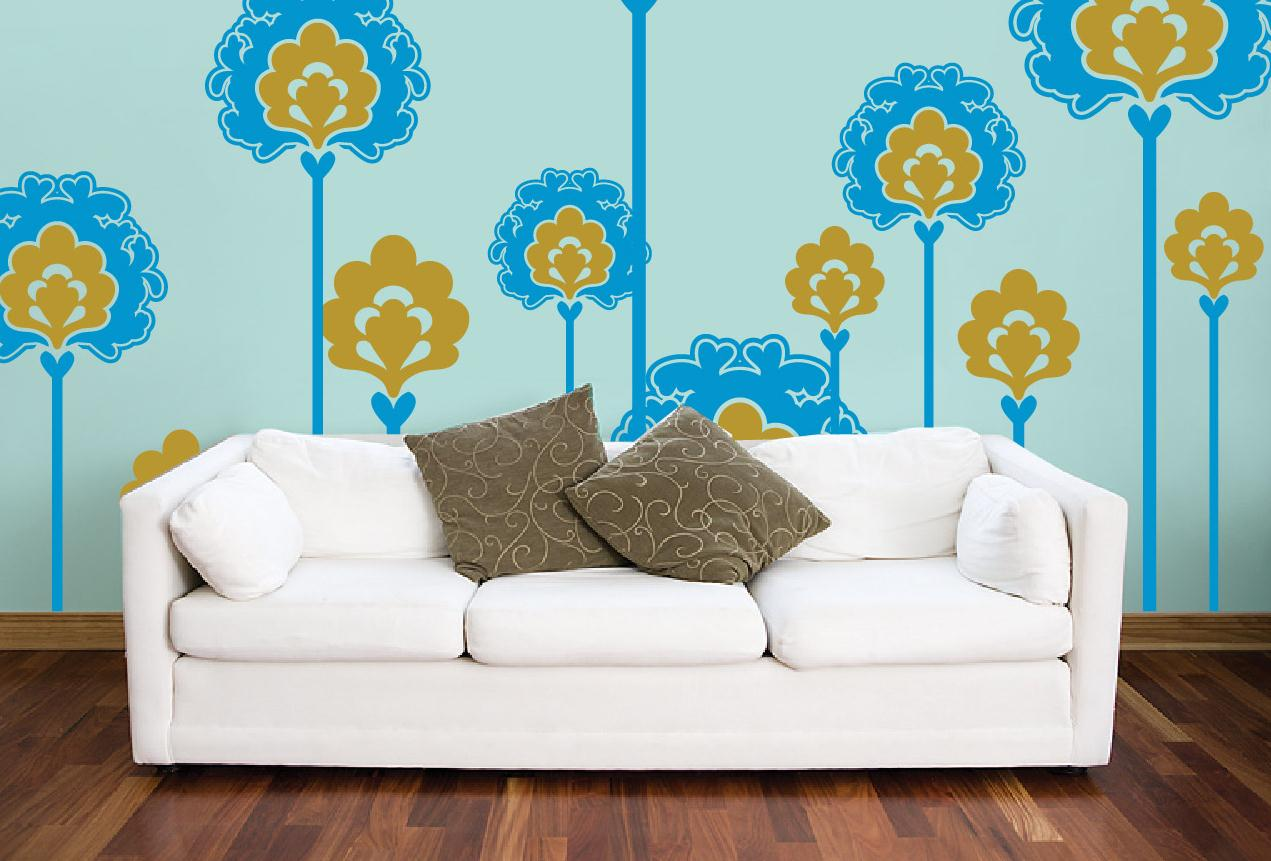 Not So Wild Flowers Large   Wall Decals