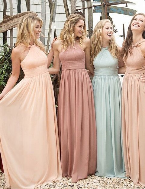 Halter Chiffon bridesmaid dress, Long Bridesmaid dresses, Cheap ...