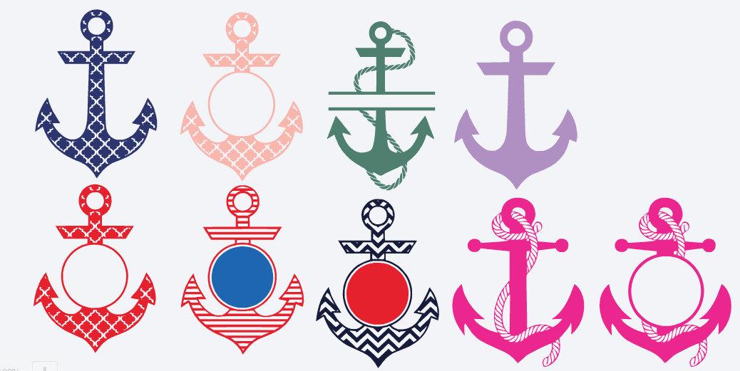 Anchor Monogram Decal Nautical Monogram Design Your Own Sticker - Custom vinyl decals for tumblers