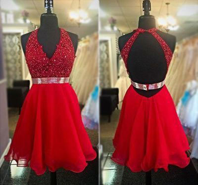 Halter Red Lace Appliqued Short Prom Dresses Backless Homecoming ...