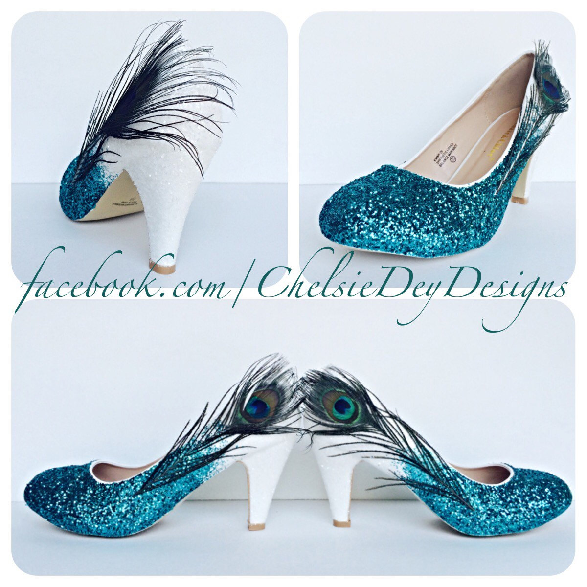 Peacock Glitter High Heels Teal White Feather Pumps Wedding Shoes