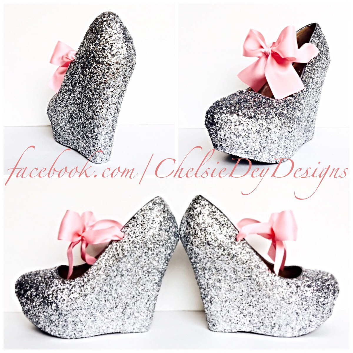 Glitter Wedge High Heels   Silver Pump Platform Shoes   Light Pink Satin  Bows   Wedding