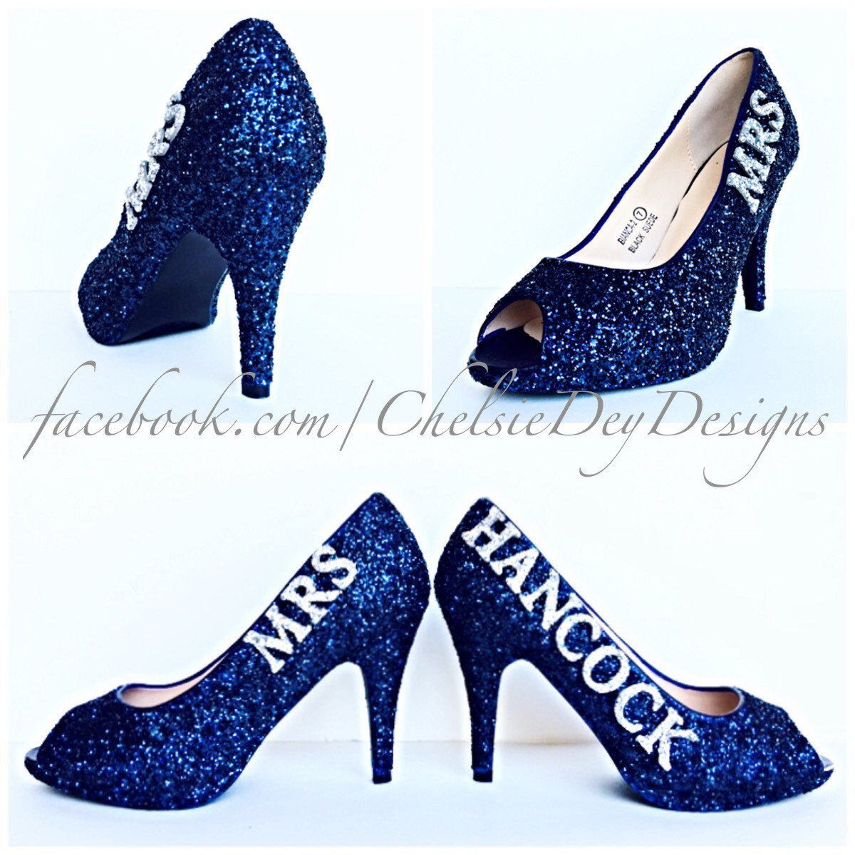 Glitter High Heels - Navy Blue and Silver Peep Toe Pumps - Wedding ...