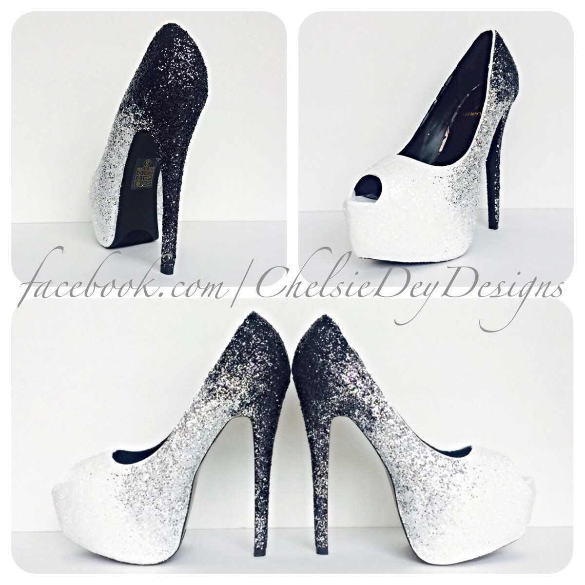 Ombre Glitter High Heels, Black Silver White Peep Toe Pumps, Open ...