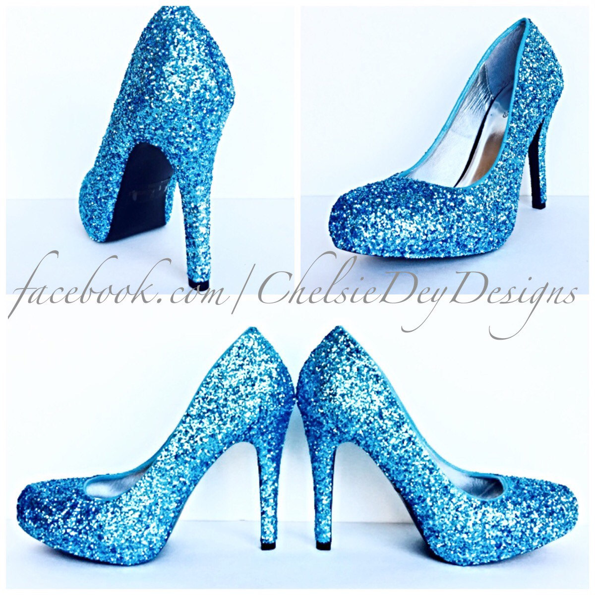 Glitter High Heels   Light Blue Pumps  Aqua Turquoise Ice Calypso   Black  Satin Bows