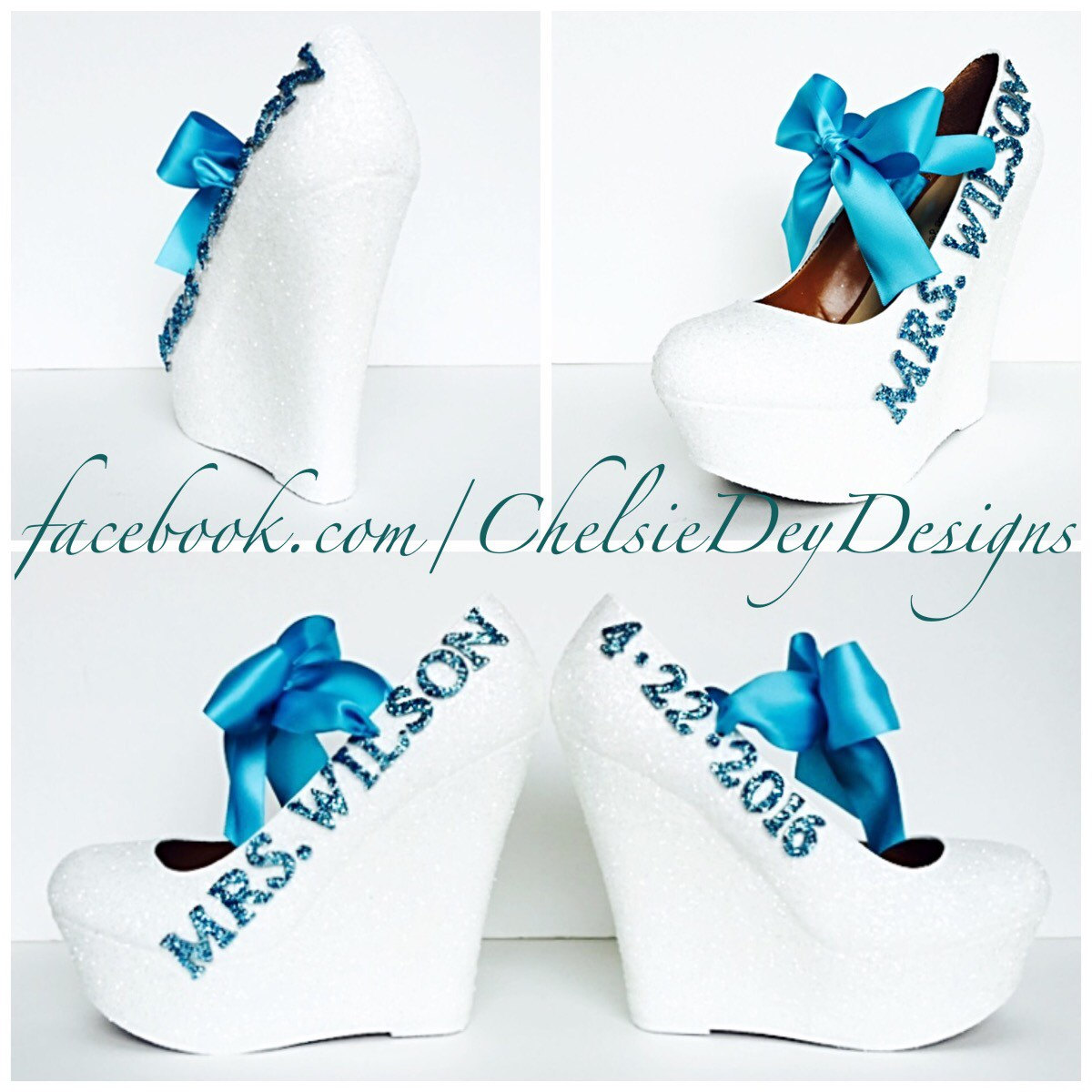 White And Turquoise Glitter Wedges   Aqua Light Blue Heels   Wedding Name  And Date
