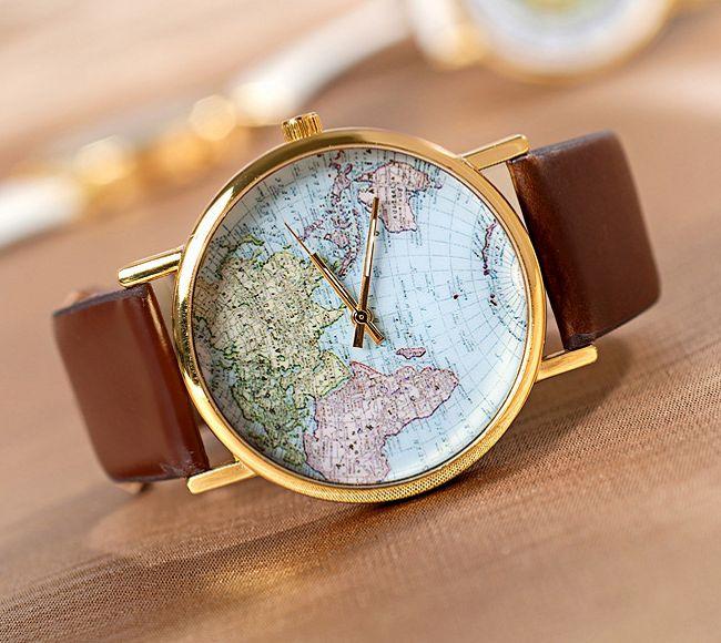 Map watch, Nautical map watch, Handmade wrist Watch, Women Leather ...