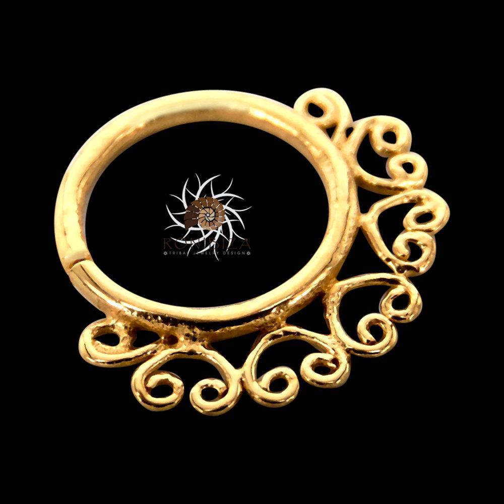 Gold Nose Ring - Gold Nose Hoop - Indian Nose Ring - Tribal Nose ...