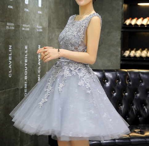 Little Cute | New design gray A-line lace short prom dress ...