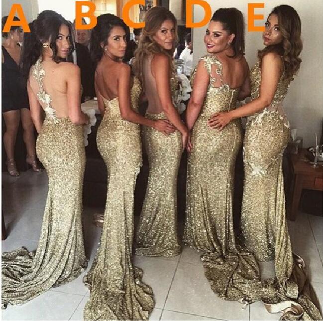 Gold sequin bridesmaid dresses mermaid bridesmaid dresses for Gold bridesmaid dresses wedding