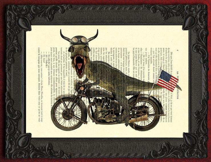 T Rex Hells Angels Art Print, Dino On Motorcycle Wall Decor, Dinosaur Wall  Hanging