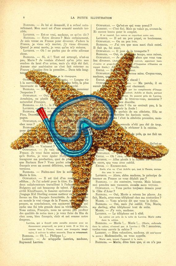 starfish snorkel print, sea starfish wall decor, summer fish funny ...