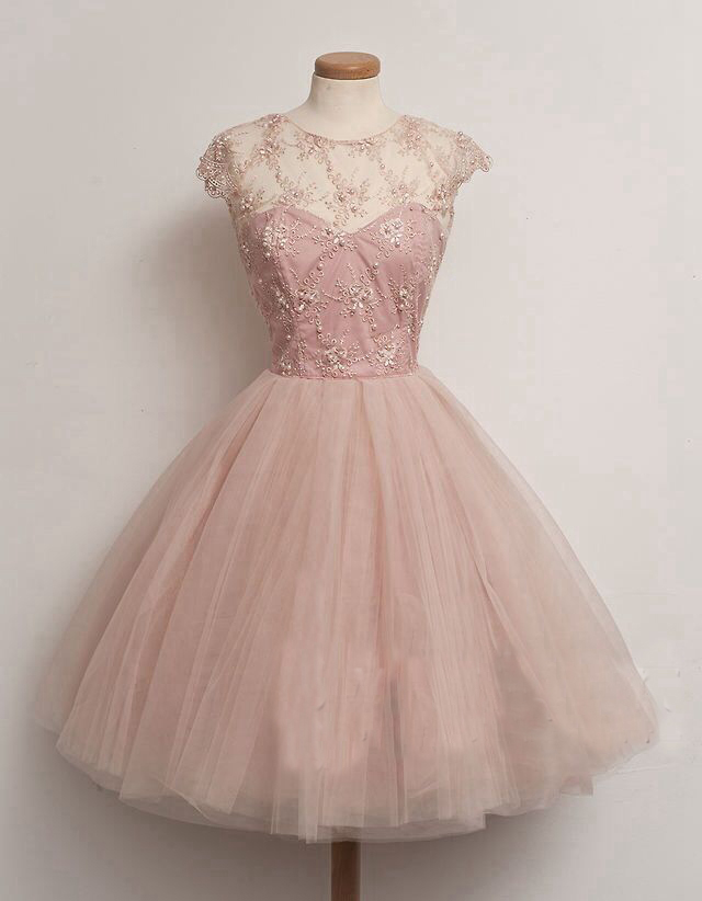 short homecoming dress , pink prom dress, A-line prom dress, cute ...