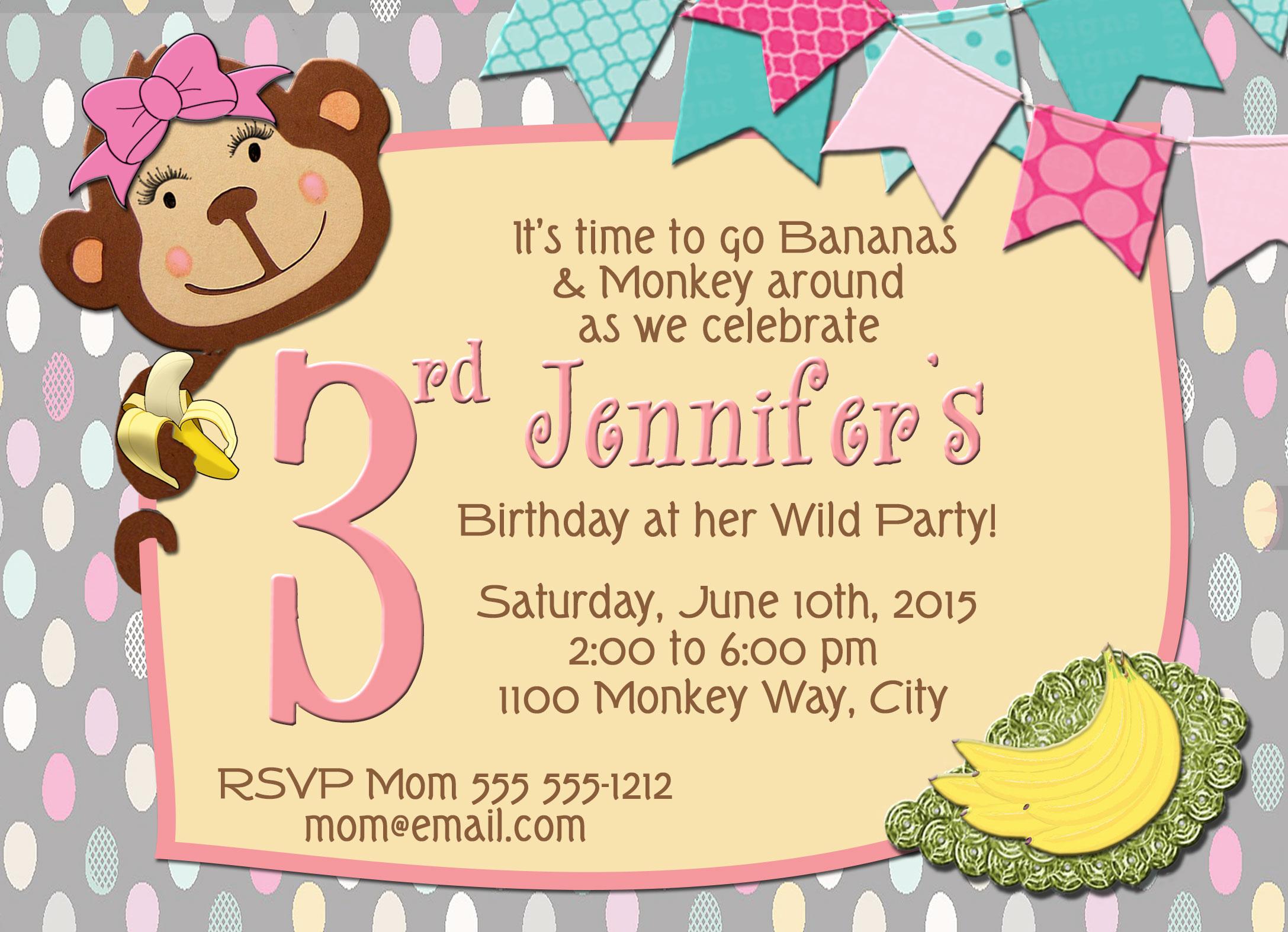 Monkey Girl Wild Party Personalized Birthday Invitation 2 Sided ...