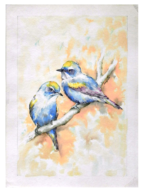 Art Bird Painting Painting Blue Birds Original Watercolor Painting