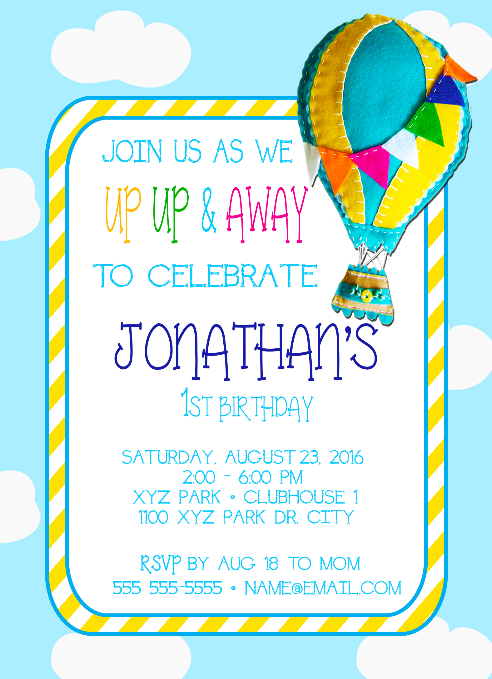 UP UP & Away Hot Air Balloon Personalized Birthday Invitation 1 ...