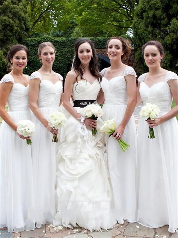 Long white bridesmaid dress,chiffon Bridesmaid Dress,simple Bridesmaid  Dress,cap sleeve Bridesmaid Dress,elegant Bridesmaid Dresses,PD20059 from  ...