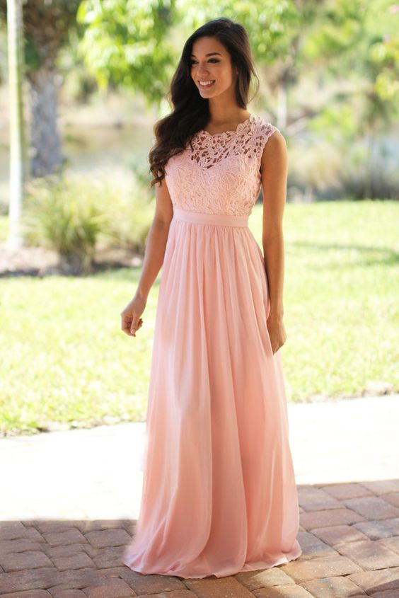 Blush Pink Lace Bridesmaid Dresses Long Bridesmaid